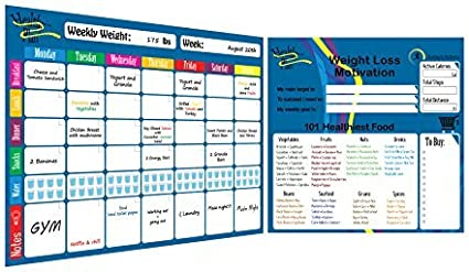 Keep Your Diet Nutrition and Fitness Organised A3 Magnetic Weekly Meal Planner