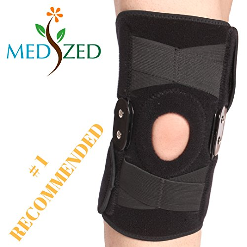 MEDIZED Adjustable Double Metal and Hinged Knee Brace Support Protection Arthritis Sports Injury (Hinged Knee Pads)