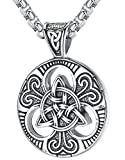 """LineAve Men's Stainless Steel Celtic Trinity Knot Triquetra Pendant Necklace, 23 + 2"""" Ext, 7a0001"""