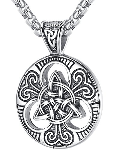 LineAve Men's Stainless Steel Celtic Trinity Knot Triquetra Pendant Necklace, 23 + 2