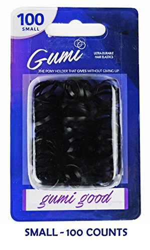 GUMI Reusable Extra Strong Hold Hair Elastics Small-100 Count -