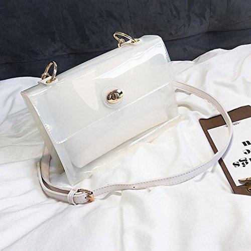 de Fro Blanco blanco marrón PVC transparente color bolso mujer bolsas Bolso trabajo de cuadrado Color hombro negro de simple verano de transparente de transparente Blanco dos nvnwqA4x1