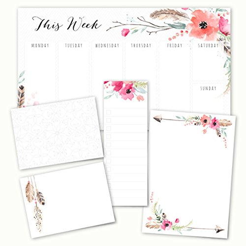- Boho Spirit Adhesive Post-It Note Pack - 5 Pads - 50 Sheets/pad