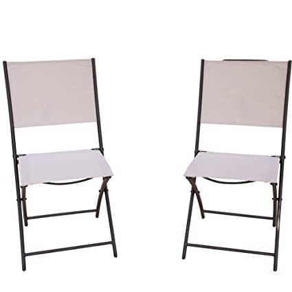 PatioPost Sling Outdoor Chairs 2 Pack Textilen Mesh Fabric Folding Armless  Chair, Tan