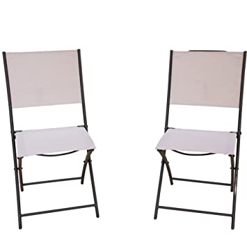PatioPost Sling Outdoor Chairs 2 Pack Textilen Mesh Fabric Folding Armless  Chair, Tan Part 62
