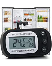 Refrigerator Thermometer Digital Freezer Fridge Room Thermometer, Waterproof Temperature Monitor Thermometer with Large LCD Display, Max/Min Record Function for Kitchen, Home, Restaurants, Black