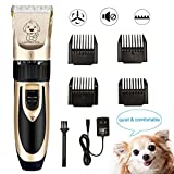 GLEIM Dog Clippers, Low Virbation and Noise Rechargeable & Cordeless Pet Grooming Kit Hair Trimmer