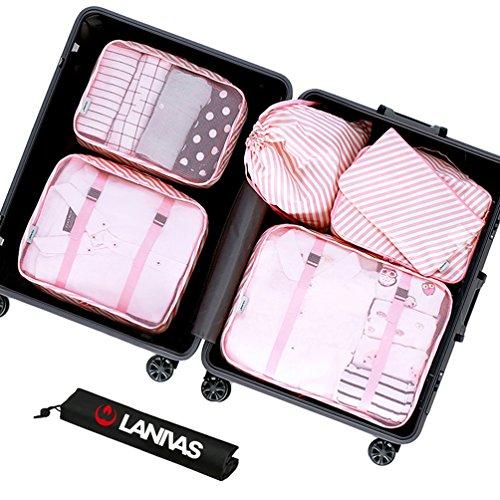 Suitcase Cubes,Lanivas 7 Set Bra Underwear Socks Organizer Waterproof Envelopes Pink Striped