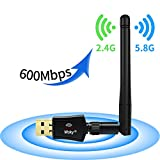 Wsky Wireless USB Wifi Adapter - AC 600M Dual Band (2.4G/150Mbps+5G/433Mbps), USB WiFi Network Dongle Adapter, Support Windows XP/Vista/7/8/8.1/10 (32/64bits) MAC OS