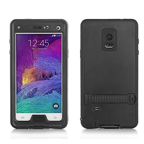 Galaxy Note 4 Waterproof Case FoxwillTM 6.6ft Underwater Waterproof Shockproof Snowproof Dirtpoof Protection Case Cover with Kickstand for Samsung Galaxy Note 4 (Black)
