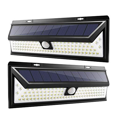 102 LED Solar Lights Outdoor, Houkiper Enhanced IP65 Waterproof Wireless Solar Security Motion Sensor Lights with 270°Wide Angle, 3 Lighting Modes for Front Door, Yard, Garage(2 Pack) 270 Motion Security Lighting