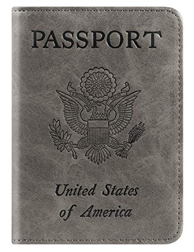 - Passport Holder Cover Wallet RFID Blocking Leather Card Case Travel Accessories for Men Women (A-Grey)