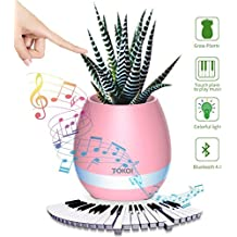 TOKQI Multi Function Flower Pot,Touch Play Piano Tone+Bluetooth Speaker+Touch Control Lamp Great Gift for Home Decor and Festivels