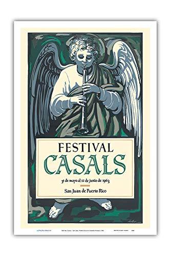 Festival Casals - San Juan, Puerto Rico - Vintage Music Poster by Lorenzo Homar c.1963 - Master Art Print 12in x 18in