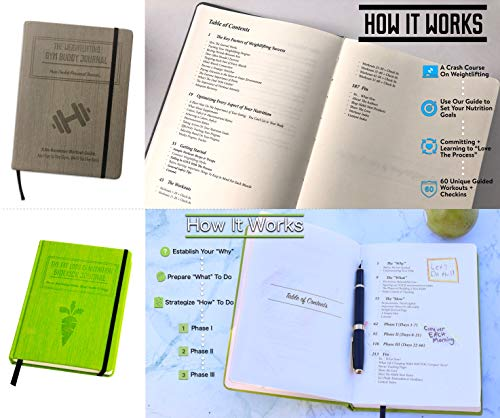 1x Weightlifting Gym Buddy Journal Bundle with 1x Fat Loss & Nutrition Sidekick Journal. Work Towards Your Fitness & Nutrition Goals simultaneously. by Habit Nest (Image #1)