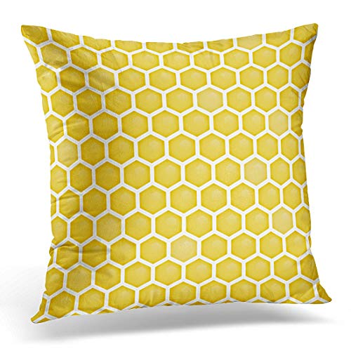 Price comparison product image Emvency Throw Pillow Covers Case White Beehive Honeycomb Pattern Orange Geometric Decorative Pillowcase Cushion Cover for Sofa Bedroom Car 16 x 16 Inches