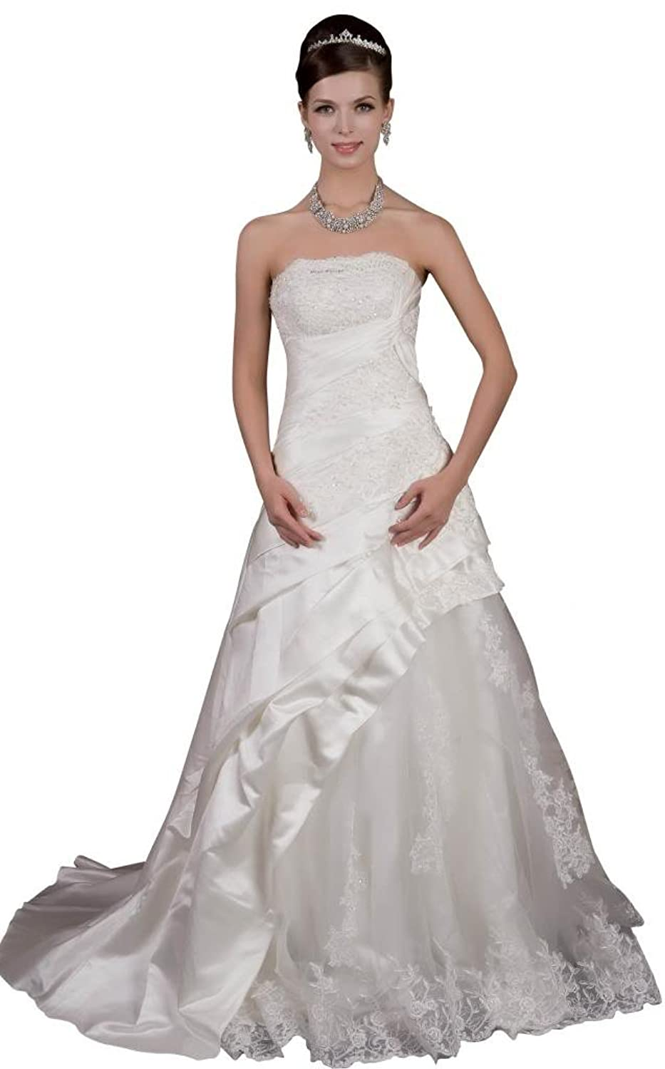 GEORGE BRIDE A-line Lace and Satin Gorgeous Wedding Gowns