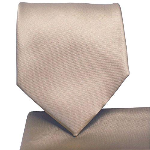 KissTies Tan Tie Solid Satin Beige Ties + Pocket Square