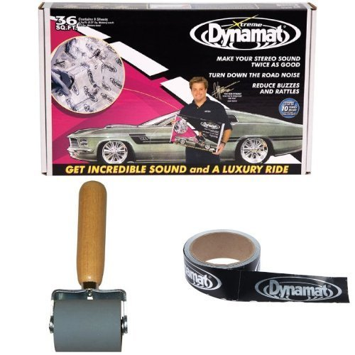 Dynamat 10455 18'' x 32'' x 0.067'' Thick Self-Adhesive Sound Deadener Dynamat 10007 Dyna-Roller Professional Heavy Duty 2'' Wide Rubber Roller 13100 Dynatape 1-1/2in x 30ft by Dynamat