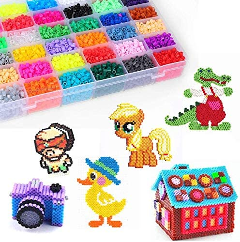 Weychen 26,000pcs Fuse Beads Kit-48 Colors 2.6mm Fuse Beads Craft Set-Iron Beads-Including 4 Pegboards 4 Ironing Paper /& 1 Tweezers 0.1inch Christmas Birthday Gift