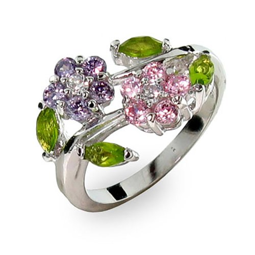 Sterling Silver Purple and Pink Colored CZ Flowers Ring, Sizes 5 to 9, Women's