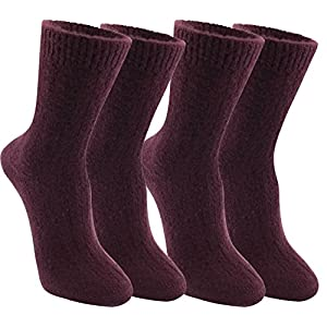 MO-KO-KO - Womens Wool Blend Winter Crew Lamb Boot Hiking Socks For Women, Cold Weather Socks for Snow - 6-10 (Violet (2 pair))
