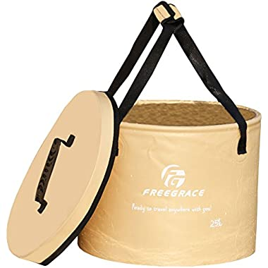 Freegrace® Best Collapsible Bucket -Multifunctional Folding Bucket -Perfect Gear For Camping, Hiking & Travel (Khaki, 25L(U))