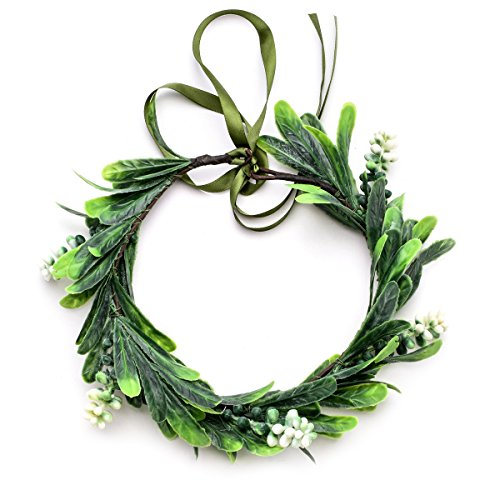 (Floral Fall Nature Berries Greenery Halo Flower Crown Woodland Wedding Headband HD-15 (White Berries))