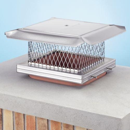 HOMESAVER 12'' x 12'' HomeSaver Pro Stainless Steel Chimney Cap, 304-alloy, 18-ga. Base And Mesh, 24-ga. Lid 14606