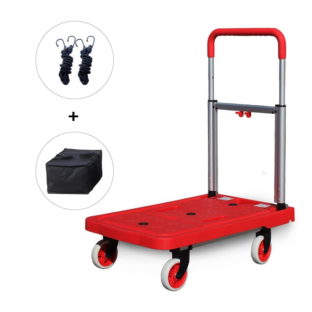PAN Folding Luggage Cart - Lightweight Aluminum Hand Truck with Wheels - Utility Cart - Portable Dolly for Travel, Moving and Office (Color : Red)