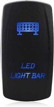 Blue WATERWICH 5 Pin Sasquatch Lights Illuminated Rocker Toggle Switch Waterproof DC 20A 12V//10A 24V Black Shell//ON-Off SPST Rocker Switch Auto Truck Boat Marine RV Off Road