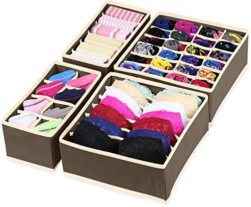 SimpleHouseware Closet Underwear Organizer Drawer Divider 4 Set, (Home Organization)