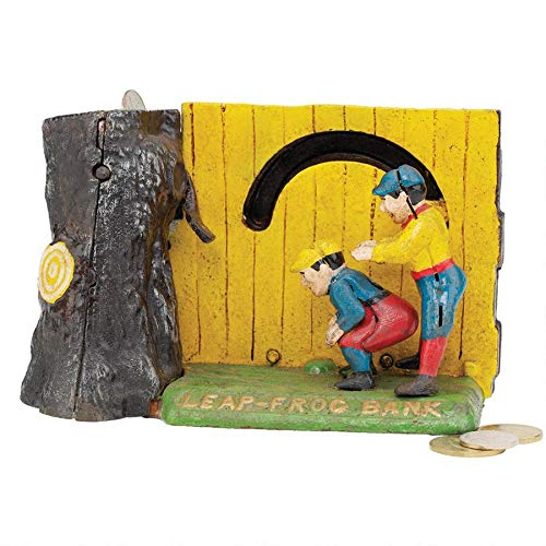 Design Toscano Leap Frog Collectors' Die-Cast Iron Mechanical Coin Bank by Design Toscano
