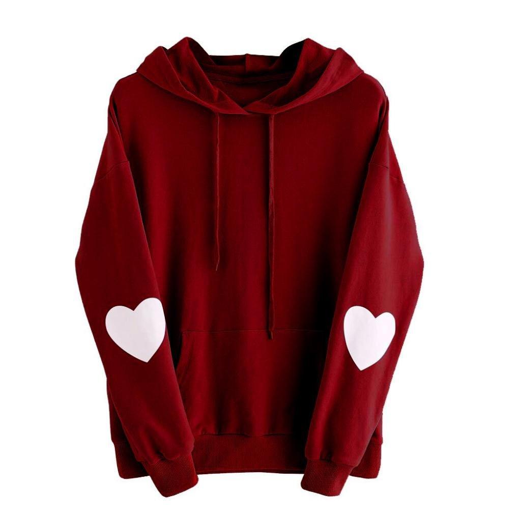 Goddessvan Plus Size Sweatshirt, Womens Casual Long Sleeve Heart Hoodie Sweatshirt Jumper Hooded Pullover Tops Blouse (Wine, 4XL) by Goddessvan