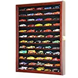Hot Wheels Matchbox 1/64 scale Diecast Display Case Cabinet Wall Rack w/UV Protection -Cherry