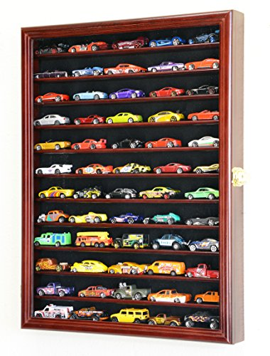Hot Wheels Matchbox 1/64 scale Diecast Display Case Cabinet Wall Rack w/UV Protection - Finish Cherry Series Wood Elegant
