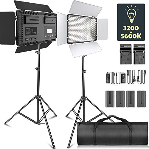 LED Video Light, SAMTIAN Dimmable Bi-Color 600 LED Studio Lights Lighting Kit: 3200K-5600K LED Panel Light with Barndoor, 2M Light Stand Carry Bag for YouTube Studio Photography Video Shooting