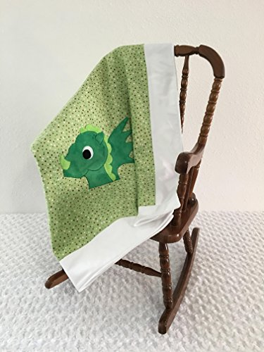 Small Green and White Dragon Applique Blanket