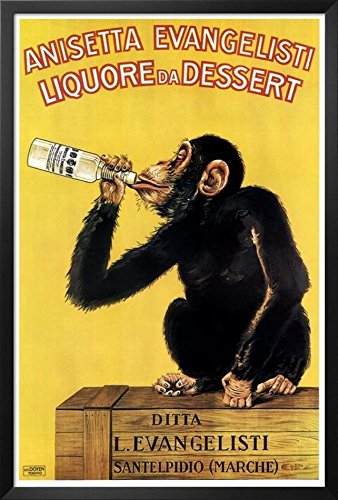 buyartforless Framed Vintage liquor Dessert Drunk Monkey Poster Art Print Vintage Advertising