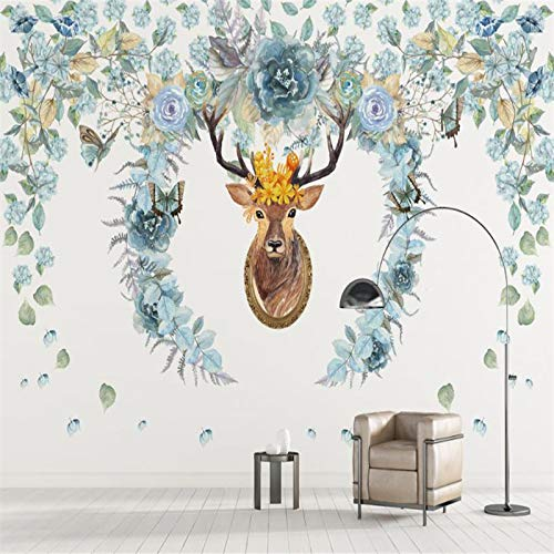 Yonthy 3D Mural Wall Sticker Wallpaper Living Room Bedroom Decoration European Style Custom Flowers Hand Painted Photo Elk Tv Background Home Decor 150Cmx100Cm