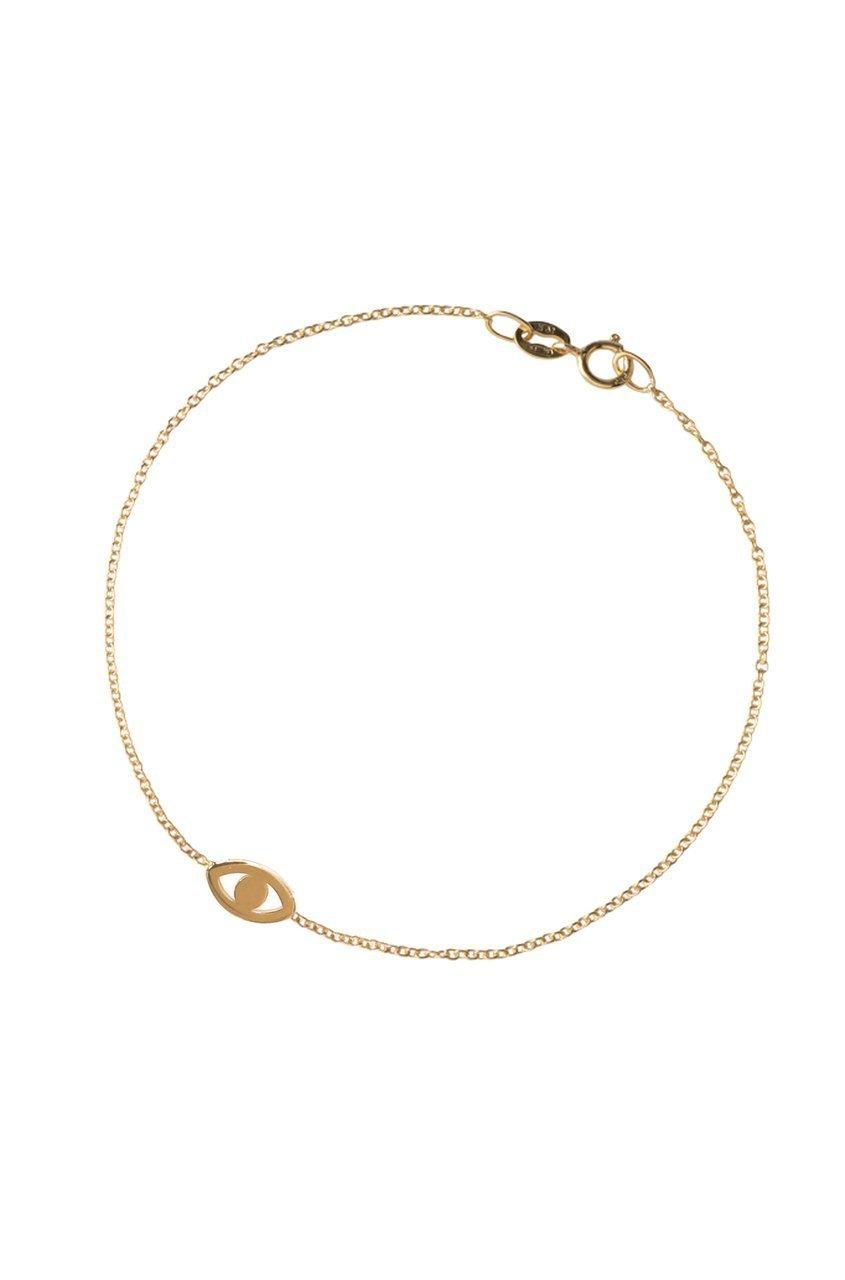 99122f320fa67 14k gold evil eye bracelet, solid gold mini evil eye