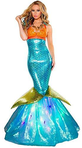 Disfraz de sirena para mujer con aspecto mojado, color azul y naranja, para Halloween