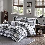 Kaputar Beautiful Modern Grey Black Plaid Stripe Boys Sporty Soft Comforter Set | Model CMFRTRSTS - 2925 | Twin Extra Long