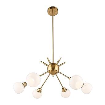 Sputnik chandelier housen solutions 6 lights modern pendant sputnik chandelier housen solutions 6 lights modern pendant lighting brushed brass ceiling light fixture mozeypictures Gallery