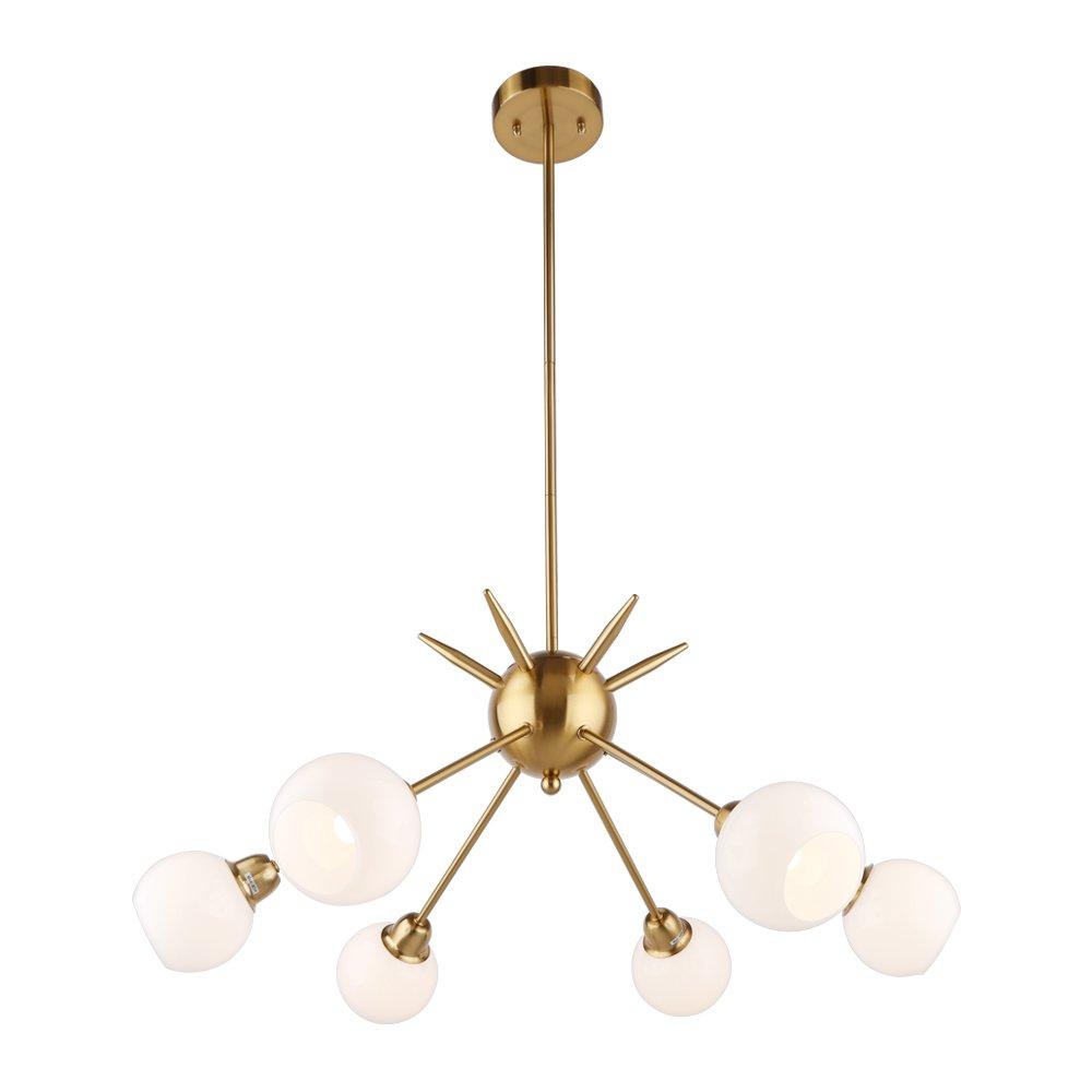 Sputnik Chandelier - Housen Solutions 6 Lights Modern Pendant Lighting Brushed Brass Ceiling Light Fixture, UL LISTED