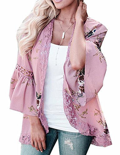 Basic Faith Women's S-3XL Floral Print Kimono Tops Cover Up Cardigans Blush 3XL