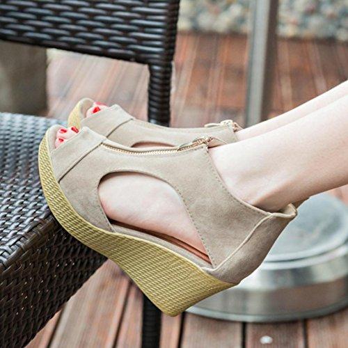 Zipper plateforme femmes femme ® sandales cales Sandales Transer Fashion chaussures d'été Kaki CXYw7Uq