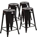Flash Furniture 4 Pk. 24'' High Backless Black-Antique Gold Metal Indoor-Outdoor Counter Height Stool with Round Seat