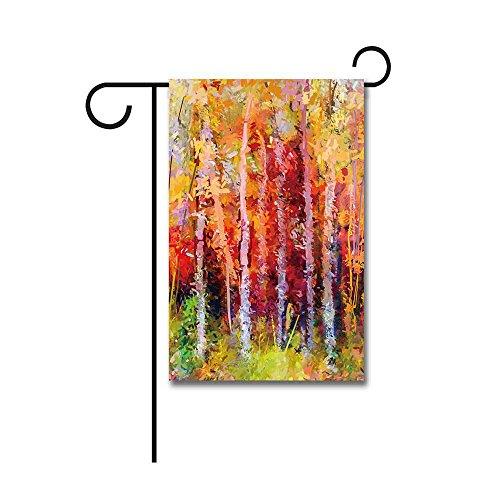 Autumn Garden Flag (KafePross Oil Painting Forest Landscape Garden Flag Colorful Autumn Trees 12.5