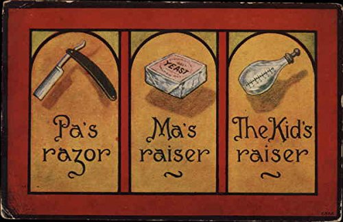 Pa's Razor, Ma's Raiser, The Kid's Raiser Comic Funny Original Vintage Postcard